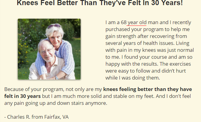 Feel Good Knees for Fast Pain Relief Testimonial Image